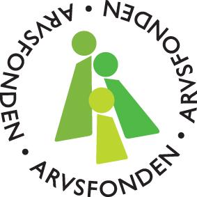 Arvsfondens logga. Tre stiliserade figurer i olika gröna nyanser bildar tillsammans bokstaven A.