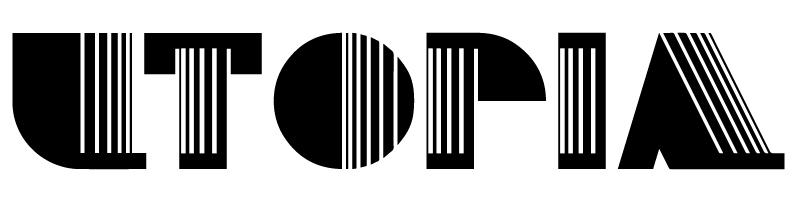 Utopias logga består av stora, svarta bokstäver. Varje bokstav har ett mönster av lodräta, vita streck som påminner lite om streckkoder.