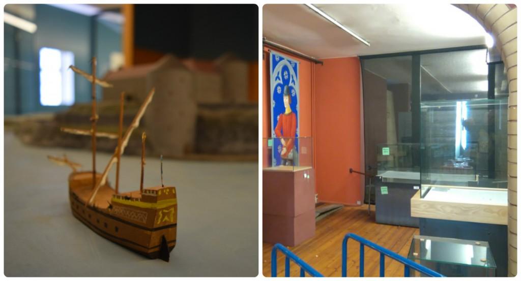 På bild ett ser man en monter med en modell av ett handelsskepp från medeltiden på väg mot en modell av Älvsborgs fästning i Göteborg. På bild två ser man ett tre meter högt rum, med fönster och röda bågar. Det står fyra tomma montrar med glas runt och en tavla med en rödklädd man på väggen. Detta är några av de få grejerna som är kvar i utställningen, men det är väldigt mycket material att montera ner efter en utställning, som sparas, kastas eller kanske används i ett annat sammanhang.