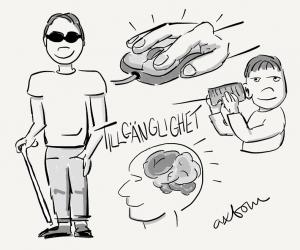 På bilden finns det olika blyertsteckningar; en man med svarta glasögon och käpp, en hand med en datormus, en kille som verkar lyssna i en burk och ett huvud där man ser hjärnan.