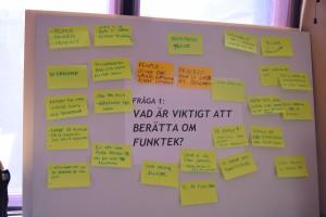 Vad är viktigt att berätta om Funktek? En tavla full med postit-lappar.