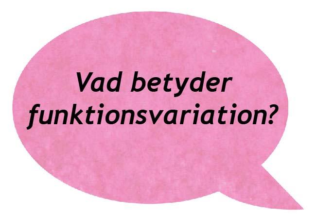 rosa pratbubbla där det står vad betyder funktionsvariation i svart text.